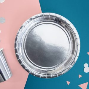 Farfurie carton argintie
