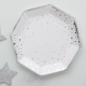 Farfurii carton stele argintii