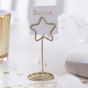 Suport place card in forma de stea auriu