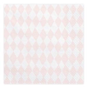 Servetele romburi alb si roz