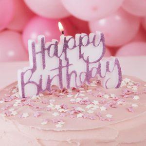 Lumanare Happy birthday roz cu sclipici