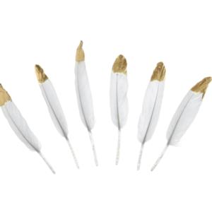 Pene decorative alb cu auriu