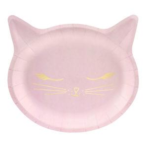 Farfurii roz petrecere pisicute