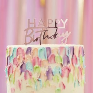 Decoratiune tort Happy birthday din acril, rose gold