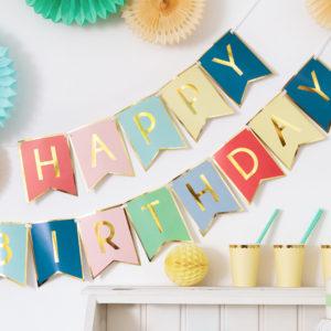 Banner happy birthday multicolor