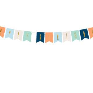 Banner happy birthday mix albastru