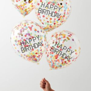 Baloane Happy Birthday cu confeti multicolor