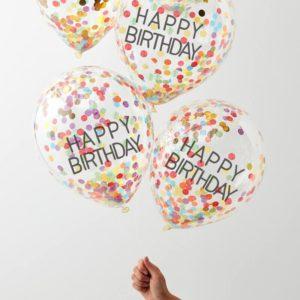 Baloane Happy Birthday cu confeti multicolor