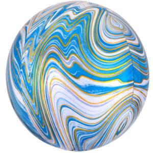 Balon folie Orbz marblez albastru
