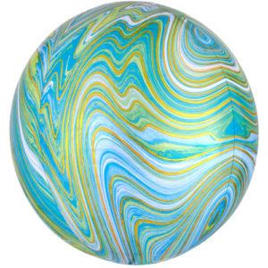 Balon folie orbz marblez verde albastru