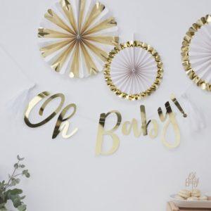 Oh baby banner auriu