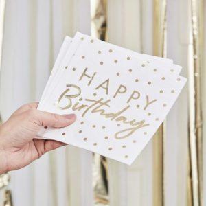 Servetele Happy Birthday alb si auriu
