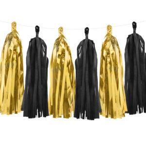 Ghirlanda franjuri decorativi hartie, 2 m, mix colorat negru auriu